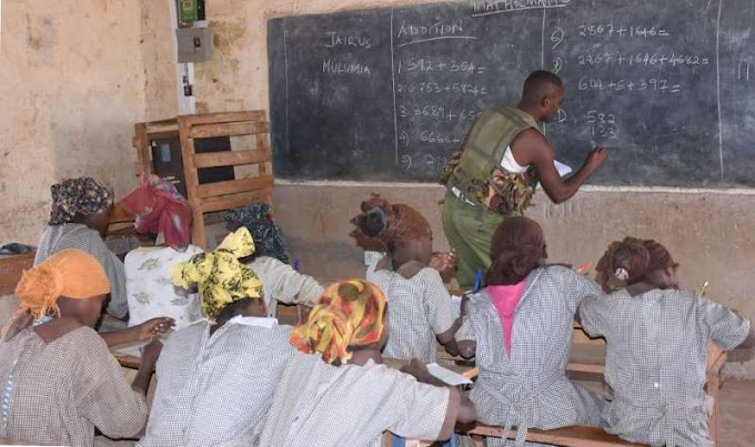 Police officer teaches class five pupils mathematics after teachers fail to show up over insecurity