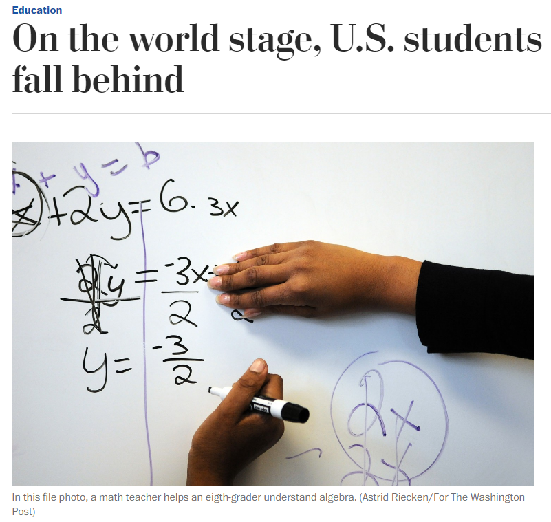 american education is falling behind New results from a test that compares education in developed and developing  countries confirms that the us is falling behind npr's melissa.
