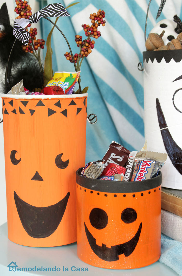 turn empty containers into Jack-o pails