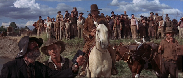 Jack Elam, Richard Widmark and Robert Mitchum in The Way West (1967)
