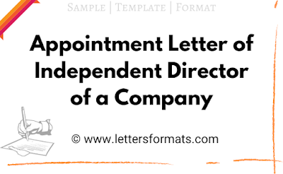 appointment letter for independent director as per companies act, 2013