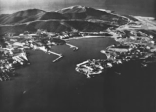 A black and white aerial photograph of a coastal region with distant mountains, harbour area, jetties and land promontories.