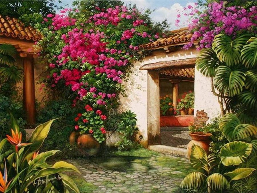 Im genes arte pinturas paisajes de guatemala en cuadros for Casa jardin guatemala