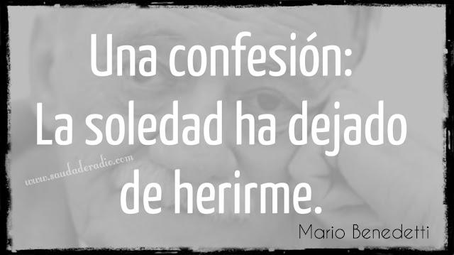 """""""Una confesión: La soledad ha dejado de herirme."""" Mario Benedetti"""