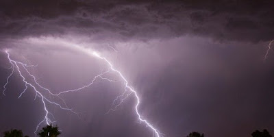 Lightning struck from the sky on the cremation ground