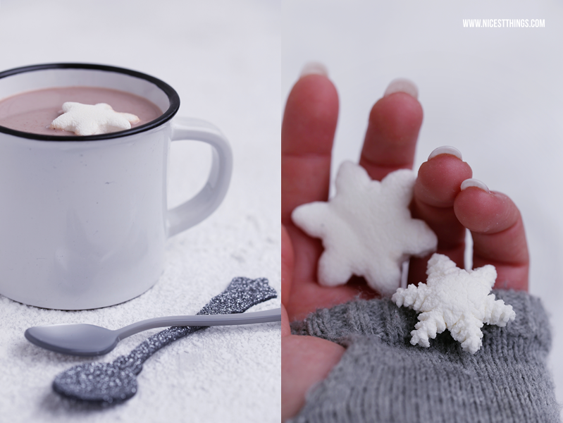 Schneeflocken Marshmallows selber machen Marsgmallows Rezept