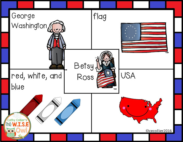 Betsy Ross 4 Square writing idea from Cathy Collier at www.cathycollier.com