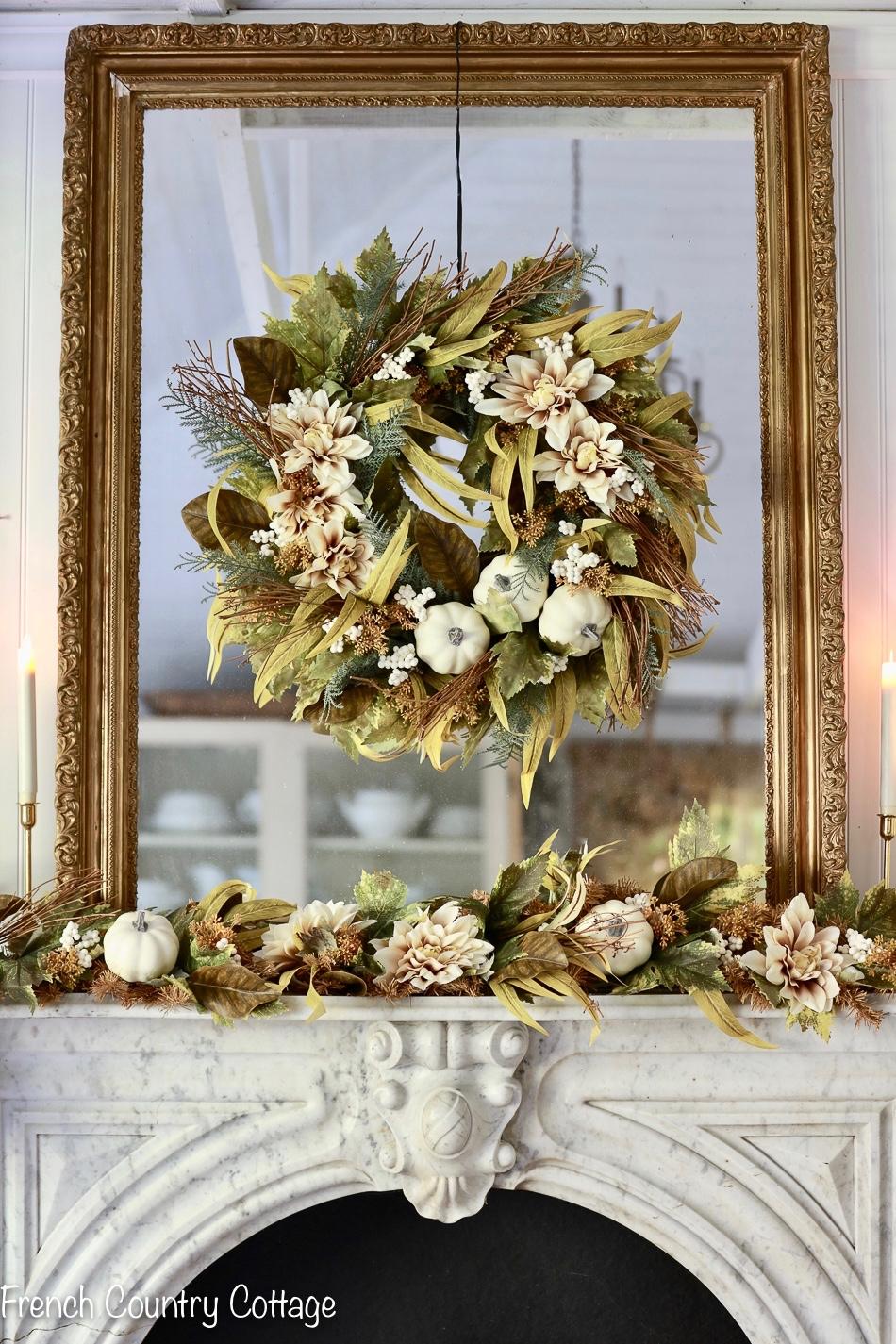 Harvest At Home Elegant Neutral Autumn Fireplace Decor