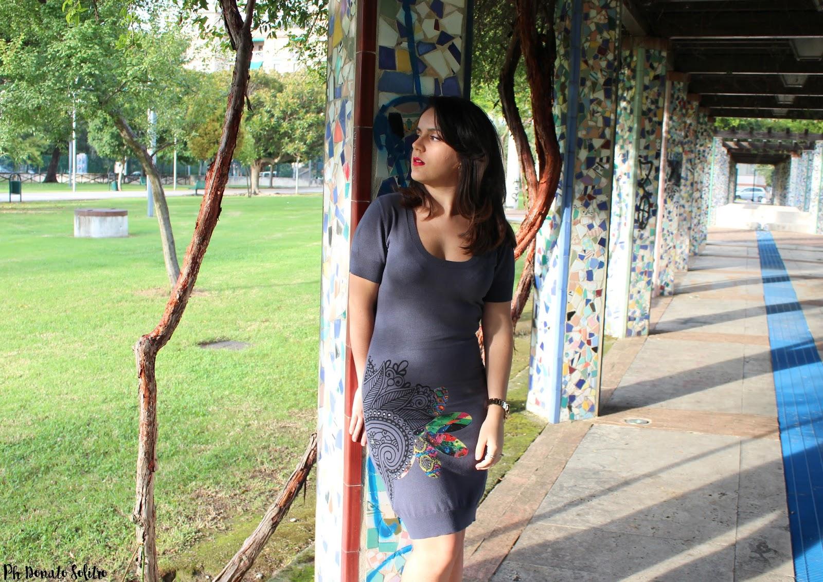 tubino grigio desigual fashion blogger salerno