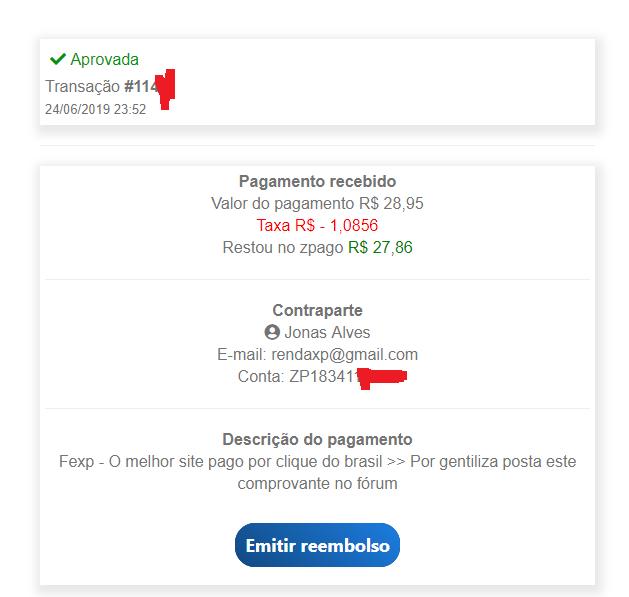 Fexp = 2° Pagamento Recebido Com Sucesso