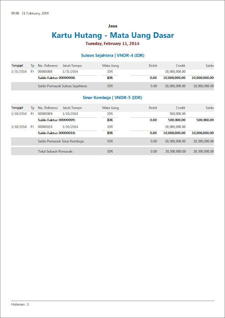 Contoh Laporan Keuangan Kartu Hutang