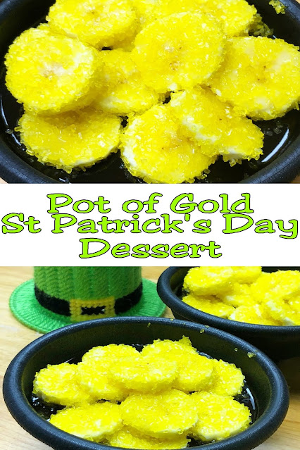 Your kids will love these Pot of Gold desserts and you'll love the easy ST patricks day desserts for kids. Using Jello , bananas, and sugar...these treats will be a rich and yummy dessert in no time.