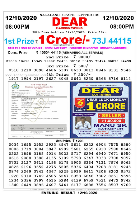 8pm Lottery Sambad, 12.10.2020, Sambad Lottery, Lottery Sambad Result 8 00 pm, Lottery Sambad Today Result 8 pm, Nagaland State Lottery Result 8 00 pm