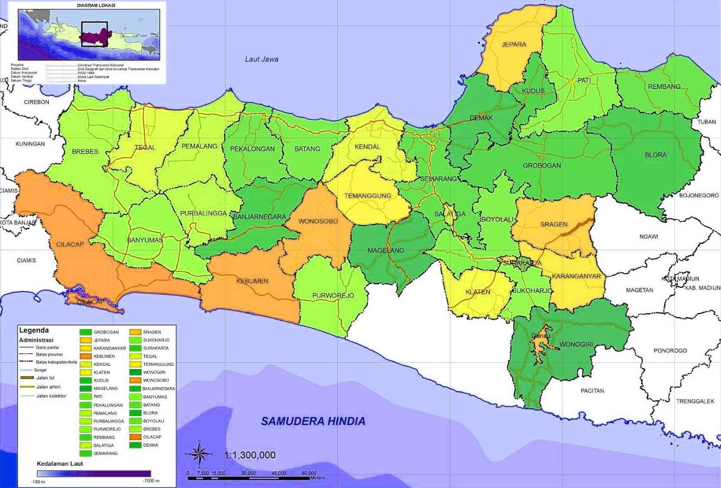 Gambar Peta Kabupaten di Jawa Tengah