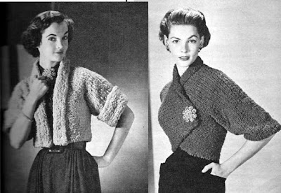 The Vintage Pattern Files: Free 1950's Knitting Pattern - Crochet Shrug Jacket & Knit Cuffed Spencer