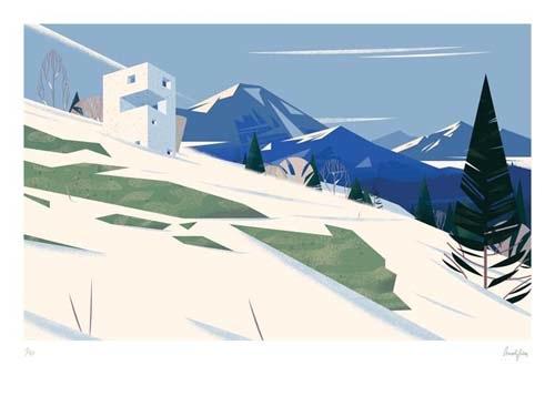 Ilustración de casas y paisaje CRUSCHIFORM