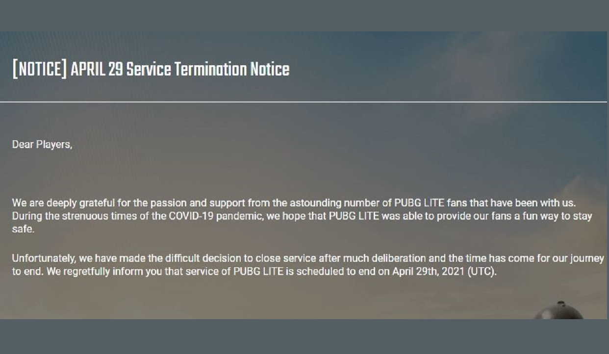 Good-Bye PUBG Lite, Players support ending on May 29