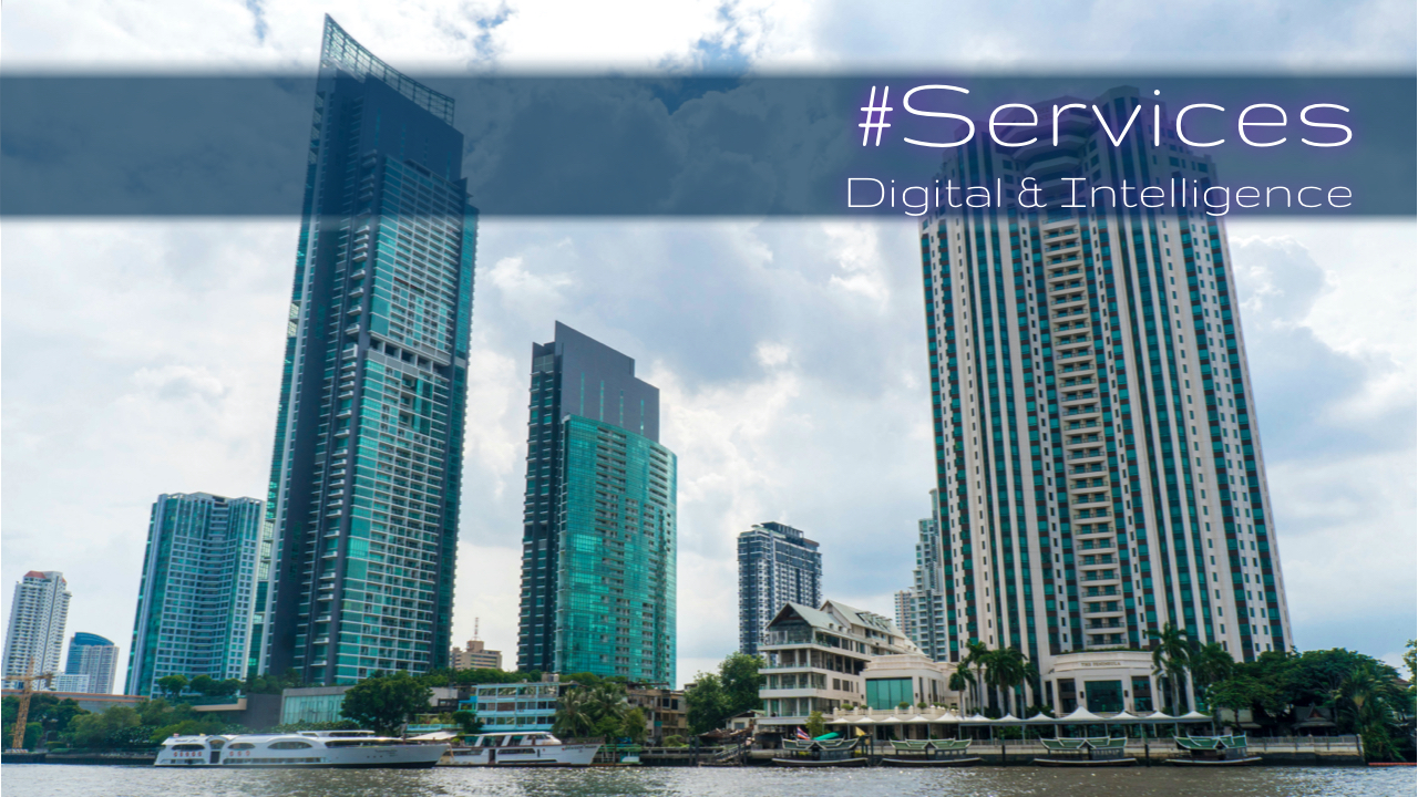 Online services, Buildings in Bangkok from Chao Phraya River