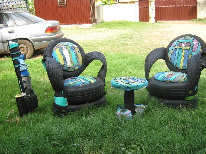 home made tyre sofa