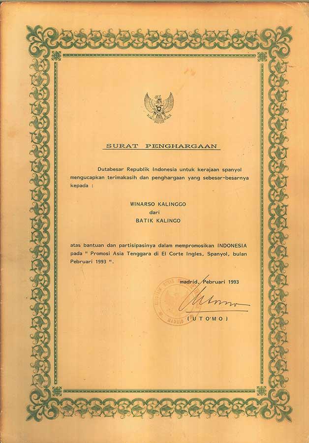 Penghargaan kalinggo Batik