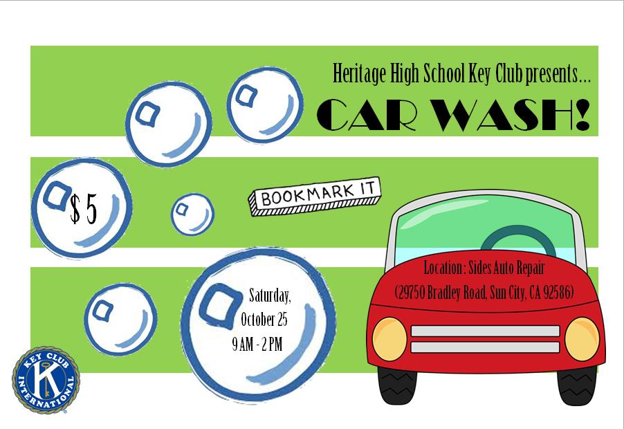 Heritage Car Wash: Hhs Key Club Car Wash On Oct 25