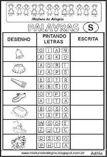 Sequência alfabética alfabetização letra S