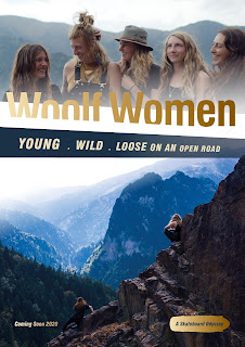 Poster - mountain scenery and a group shot of female skateboarders