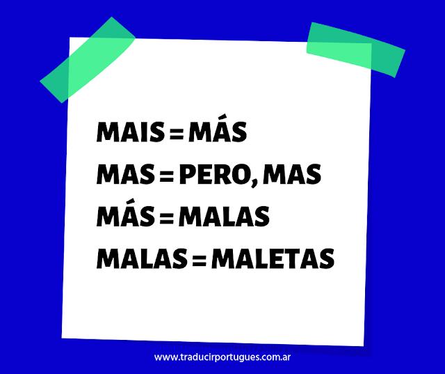 Diferencias entre MAIS, MAS y MÁS en portugués