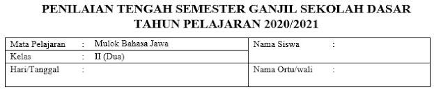 Soal PTS Mulok Bahasa jawa