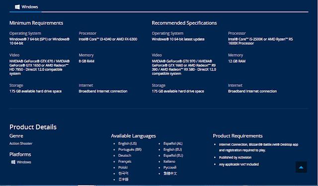 متطلبات تشغيل CALL OF DUTY WARZONE للكمبيوتر