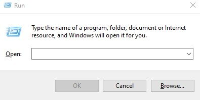 tekan Windows + R