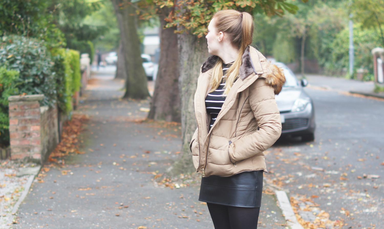 zara camel puffa coat