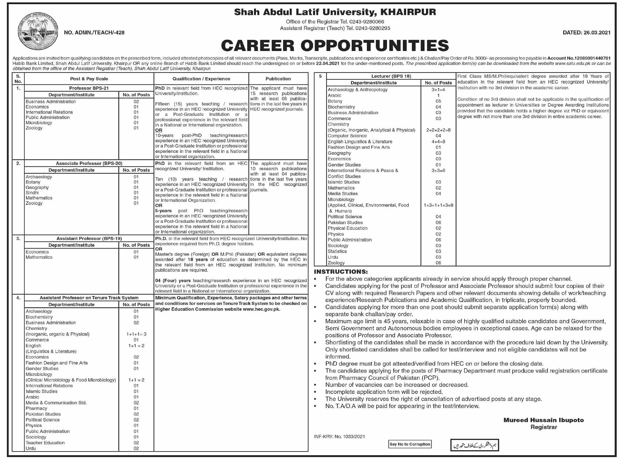 Shah Abdul Latif University Khairpur Jobs 2021 in Pakistan