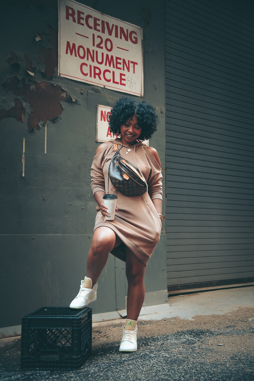 Sweenee Style, How to wear a hoodie dress, outfit ideas for fall, how to wear jordan 1, girls who wear sneakers, indianapolis fashion blogger
