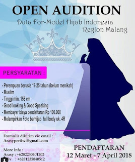 open audisi casting duta for model hijab indonesia 2018 region malang