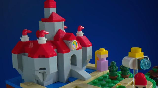 Super Mario 64 LEGO ? question block Princess Peach's castle
