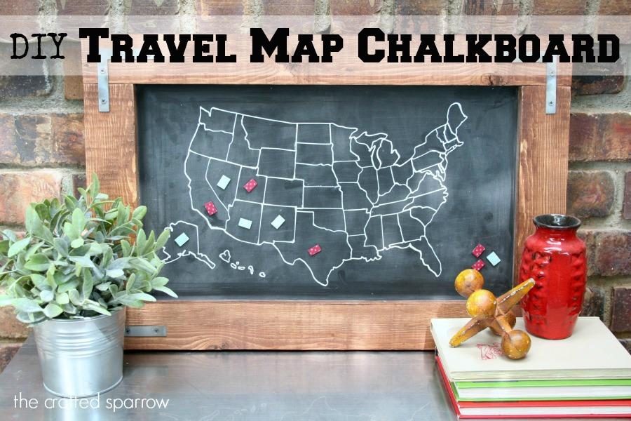 Diy Travel Map Chalkboard