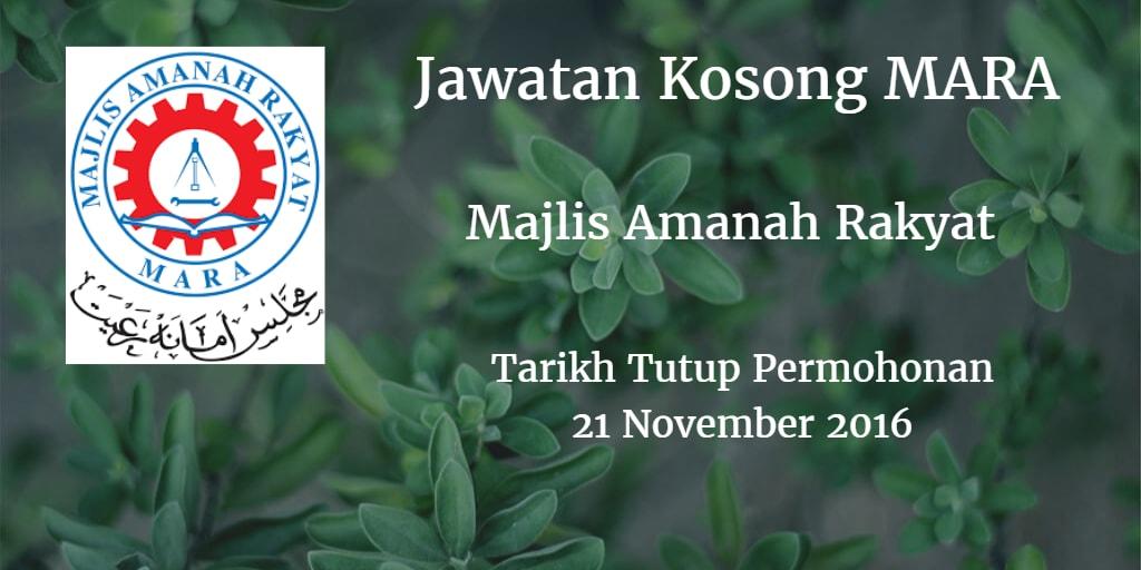 Jawatan Kosong MARA 21 November 2016