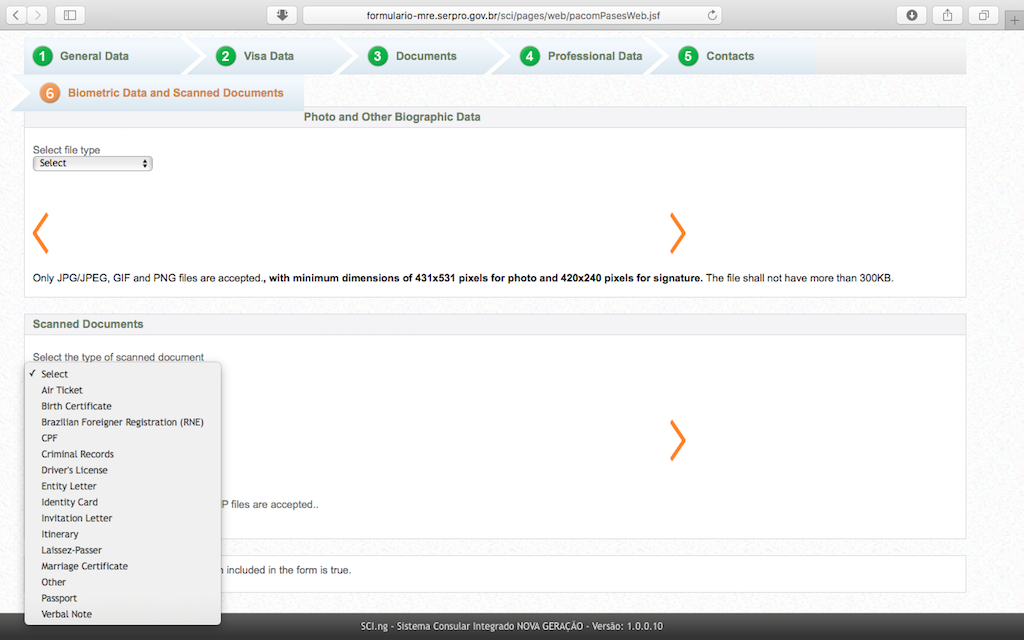 Pengalaman Mengurus Visa Brazil di Jakarta - Form Aplikasi Online Scan Documents