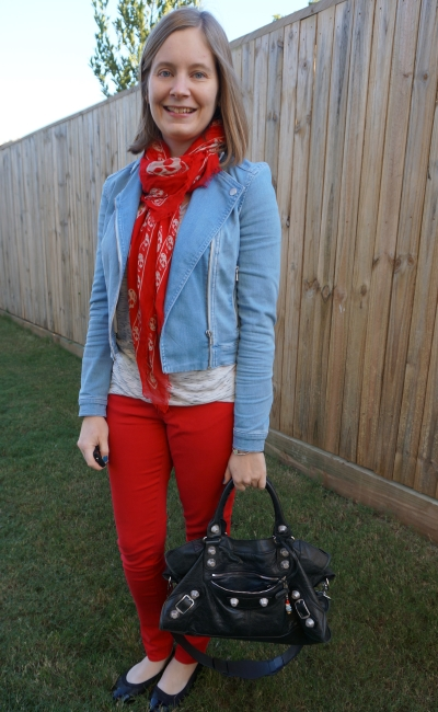 double denim matching red skull scarf and skinny jeans with cream space dye tee balenciaga part time | awayfromblue