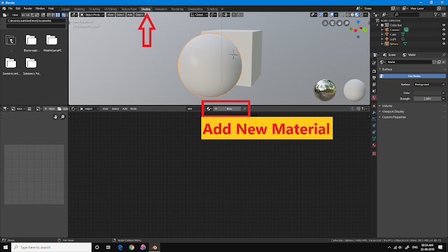 before add new material in Blender 2.8