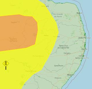 Inmet emite dois alertas de perigo de incêndios florestais em 69 municípios da Paraíba