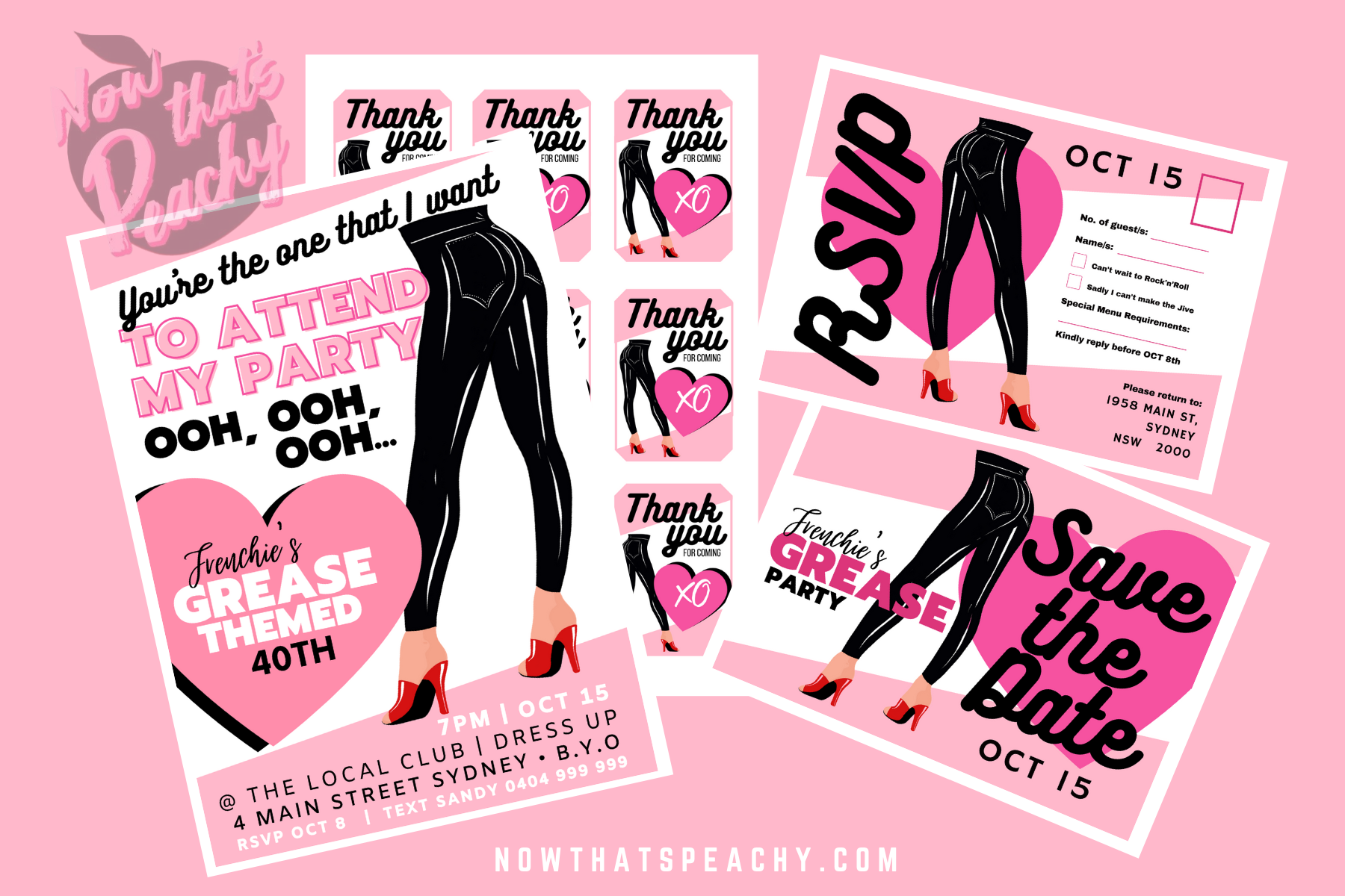 Grease Movie 1950s Theme Party Printables Editable Pdfs Now Thats Peachy
