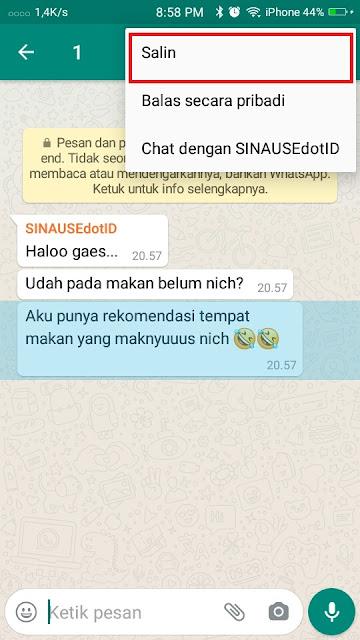 Cara copy Chat Whatsapp 1