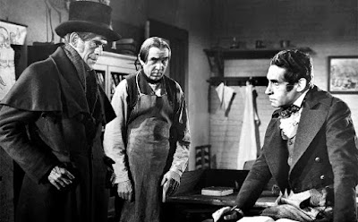 Boris Karloff, Bela Lugosi and Henry Daniell in The Body Snatcher, 1945