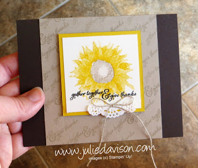 Stampin' Up! Painted Harvest Sunflower Card for #GDP104 #stampinup 2017 Holiday Catalog ~ www.juliedavison.com