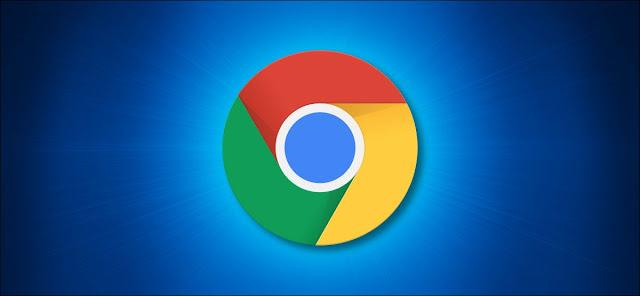 شعار Google Chrome على خلفية زرقاء