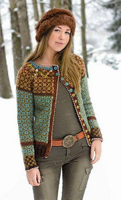 Complicated color work sweater knitting pattern with steeks.