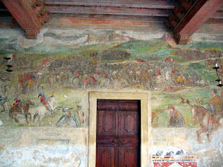 Frescoes at Colleoni's Malpaga Castle show scenes from the Battle of Molinella