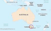 Ubicación de la isla de Tasmania